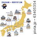 日本の城 現存天守12城と忍者キャラクター 63405354