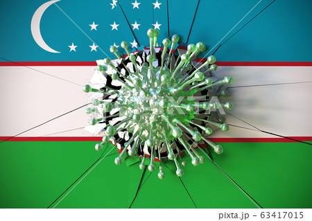 Virus crashes wall with flag of Uzbekistan. Coronavirus pandemic related conceptual 3D rendering 63417015
