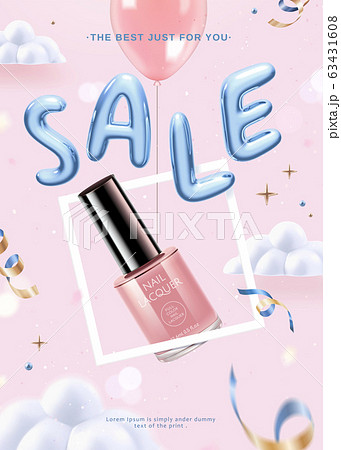 Pink lacquer floating with balloon 63431608