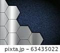 Pattern of metal plates on blue denim fabric. 63435022