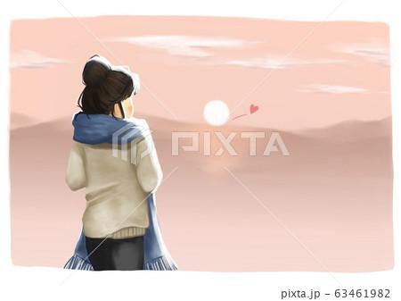 夕日と山のキス 63461982