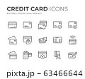 Credit Card Line Icons Set 63466644