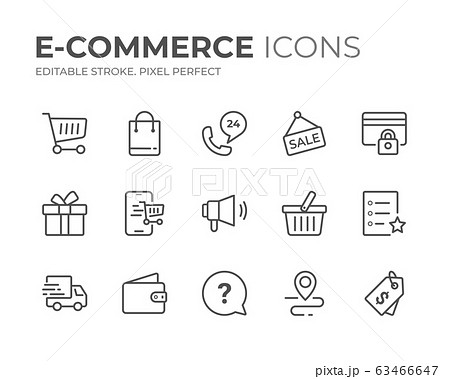 E-Commerce Line Icons Set 63466647