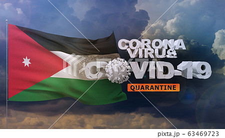 Coronavirus disease COVID-19 infection concept - waving flag of Jordan. 3D illustration. 63469723