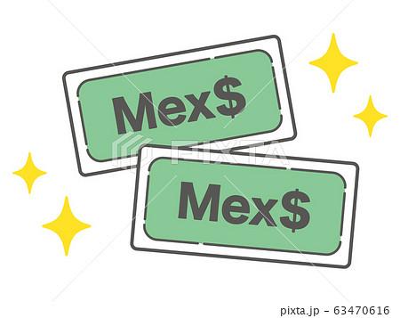 キラキラ輝く墨ペソ紙幣のシンプルなアイコン 63470616