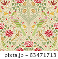 Vintage flowers and birds seamless pattern on light background. Vector illustration. 63471713