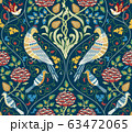 Vintage flowers and birds seamless pattern on dark blue background. Color vector illustration. 63472065