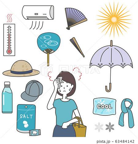 夏の熱中症対策のイラストセット 63484142