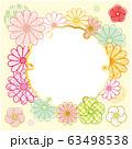 縁起物 菊と梅の花のフォトフレーム 雪輪 背景 クリーム色 63498538