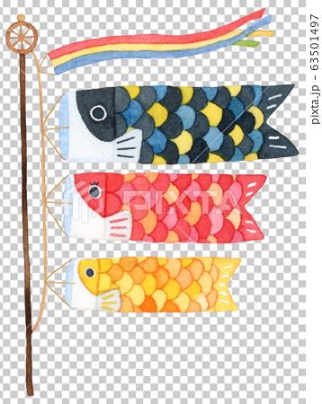 手描き水彩|子供の日 鯉のぼりイラスト 63501497