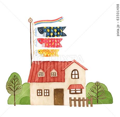 手描き水彩|子供の日 鯉のぼりと赤い屋根のお家イラスト 63501498
