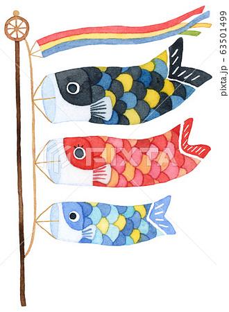 手描き水彩|子供の日 鯉のぼりイラスト 63501499