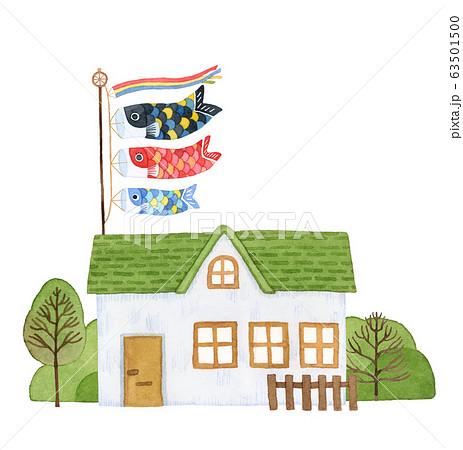 手描き水彩|子供の日 鯉のぼりと緑の屋根のお家イラスト 63501500
