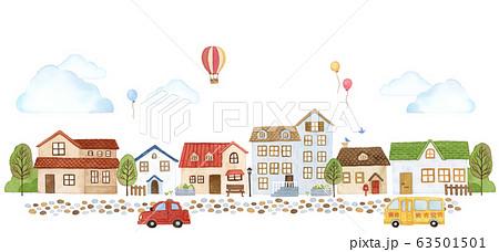 手描き水彩|小さなお家の街並み イラスト 63501501