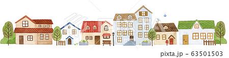 手描き水彩|小さなお家の街 イラスト 63501503