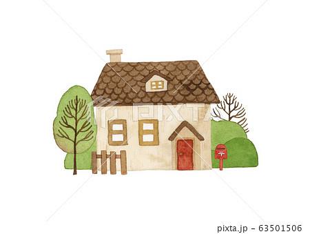 手描き水彩 小さな茶色いお家 イラスト 63501506