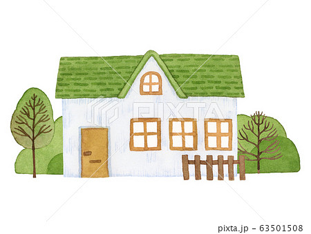 手描き水彩|小さな緑の屋根のお家 イラスト 63501508