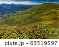 巻機山・割引岳稜線の紅葉と牛ヶ岳・中ノ岳・越後駒ヶ岳の眺め 63519597
