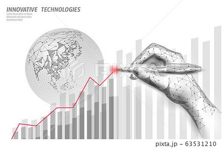 Growing graph coronavirus stats. Infection pneumonia hazard outbreak. 3D hand point low poly. International design. Against virus epidemic vector illustration 63531210