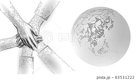 World global unity business concept. Together against problem. Teamwork international solution human protection. Multicultural organisation worldwide vector illustration map 63531222