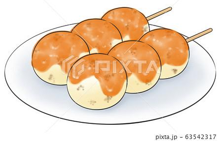 みたらしだんご・線1色・お皿あり 63542317