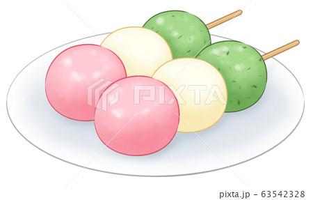 3色だんご・お皿あり 63542328