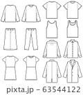 (線のみ)サイズ 表記や説明 デザイン用 テンプレート素材/服 ファッション まとめ 一覧 セット 63544122