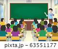 学校の生徒と男性の先生 63551177