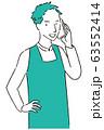 手描き1color エプロンを着た男性 通話 63552414