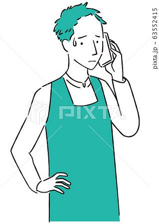 手描き1color エプロンを着た男性 通話で困る 63552415
