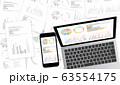 グラフ資料をモニターに表示したデスクトップ・ノートパソコン・スマホセット白黒資料背景 63554175