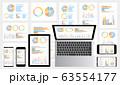 グラフ資料をモニターに表示したデスクトップ・ノートパソコン・スマホ・タブレットセットグレー背景 63554177