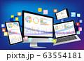 ノートパソコンとスマホとデジタルネットワーク・グラフ資料-3D立体青色背景 63554181