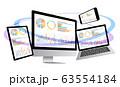 ノートパソコンとスマホとデジタルネットワーク・グラフ資料-3D立体白色背景 63554184