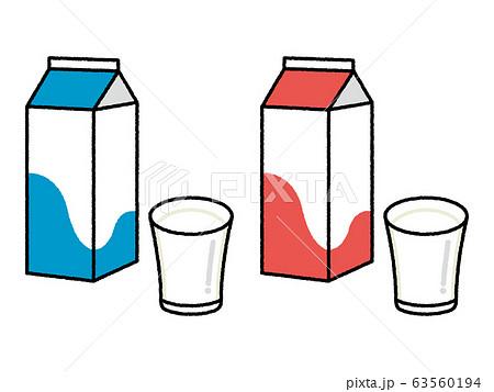 牛乳パックとコップ 63560194