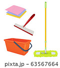 Cleaning service equipment. Bucket brush floor broom washing tools vector realistic set 63567664