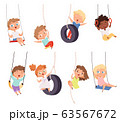 Swing rides. Gymnastic exercise of childrens on rope amusement attraction happy kids vector set 63567672
