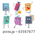 Books characters. Cartoon funny faces of old books opened and closed vector mascot collection 63567677