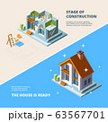 House construction. Repair roof renovation building vector isometric picture for banners 63567701