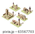 Castles low poly. Video game isometric assets medieval buildings from old rocks and bricks 3d houses vector old fort 63567703
