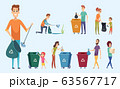 Recycling garbage. People sorting waste protect environment garbage separation process vector characters 63567717