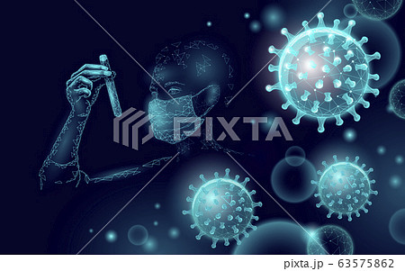 Woman doctor scientists hold test tube. Safety medical mask virus microscope vaccine. Developing pandemic coronavirus pneumonia treatment. Healthcare immunization research vector illustration 63575862