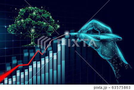 3D digital ecology positive trend concept. Nature save planet business idea increase profits marketing. Investment control hand pen drawing graphic vector illustration 63575863