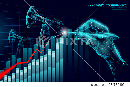 3D digital economy positive trend concept. Finance business idea increase profits marketing. Investment control hand pen drawing graphic vector illustration 63575864