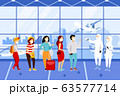 Group of people wearing medical masks at the airport quarantine control. Vector illustration 63577714