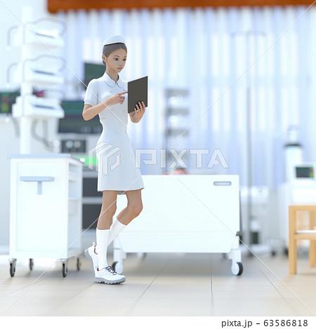 ICUで仕事する若いナース perming 3DCG イラスト素材 63586818