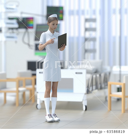 ICUで仕事する若いナース perming 3DCG イラスト素材 63586819