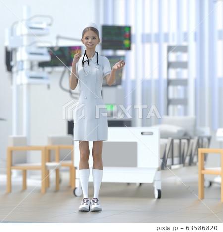 ICUで仕事する若いナース perming 3DCG イラスト素材 63586820