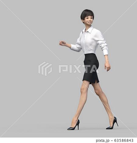 歩くビジネススーツの女性 perming3DCG イラスト素材 63586843