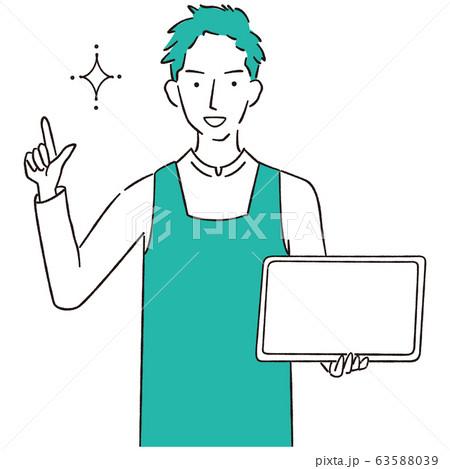 手描き1color エプロンを着た男性 タブレットでプレゼン 63588039